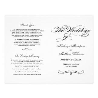Wedding Programs | Black and White Calligraphy