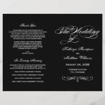 """Wedding Programs   Black and White Calligraphy<br><div class=""""desc"""">Elegant wedding ceremony program includes a flourished monogram with white colored calligraphy and scroll design. Personalize the custom text for your bridal party, ceremony information, and thank you message. Note: these text weight paper programs arrive flat and require folding to assemble. Black printed background color can be customized for your...</div>"""