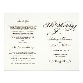 "Wedding Programs | Black Calligraphy Design 8.5"" X 11"" Flyer"