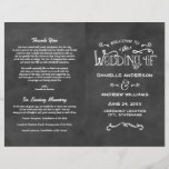 """Wedding Programs   Chalkboard Charm<br><div class=""""desc"""">Wedding ceremony sheet programs feature &quot;Welcome to the Wedding of&quot; in white script and a background with a textured black chalkboard appearance.  Personalize the custom text for your bridal party,  ceremony information,  and thank you message. Note: these text weight paper programs arrive flat and require folding to assemble.</div>"""
