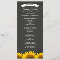 Wedding Programs Elegant Sunflowers Chalkboard
