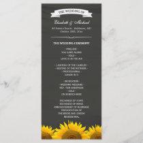 Wedding Programs Elegant Sunflowers Chalkboard