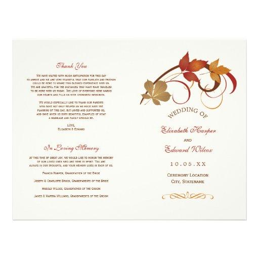 Wedding Programs   Falling Leaves Flyer