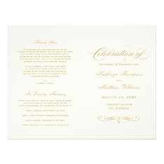Wedding Programs | Gold Calligraphy Design at Zazzle