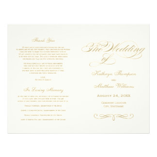 "Wedding Programs | Gold Calligraphy Design 8.5"" X 11"" Flyer"