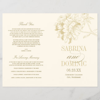 Wedding Programs   Gold Peony Floral