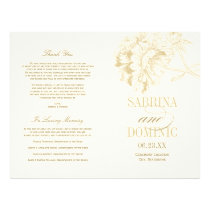 Wedding Programs | Gold Peony Floral