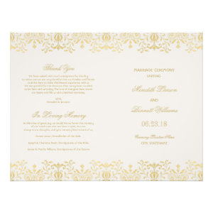 Wedding Programs | Gold Vintage Glamour Full Color Flyer