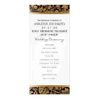 Wedding Programs | Golden Floral Damask on Black