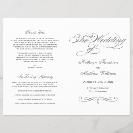 Wedding Programs | Gray Calligraphy Design