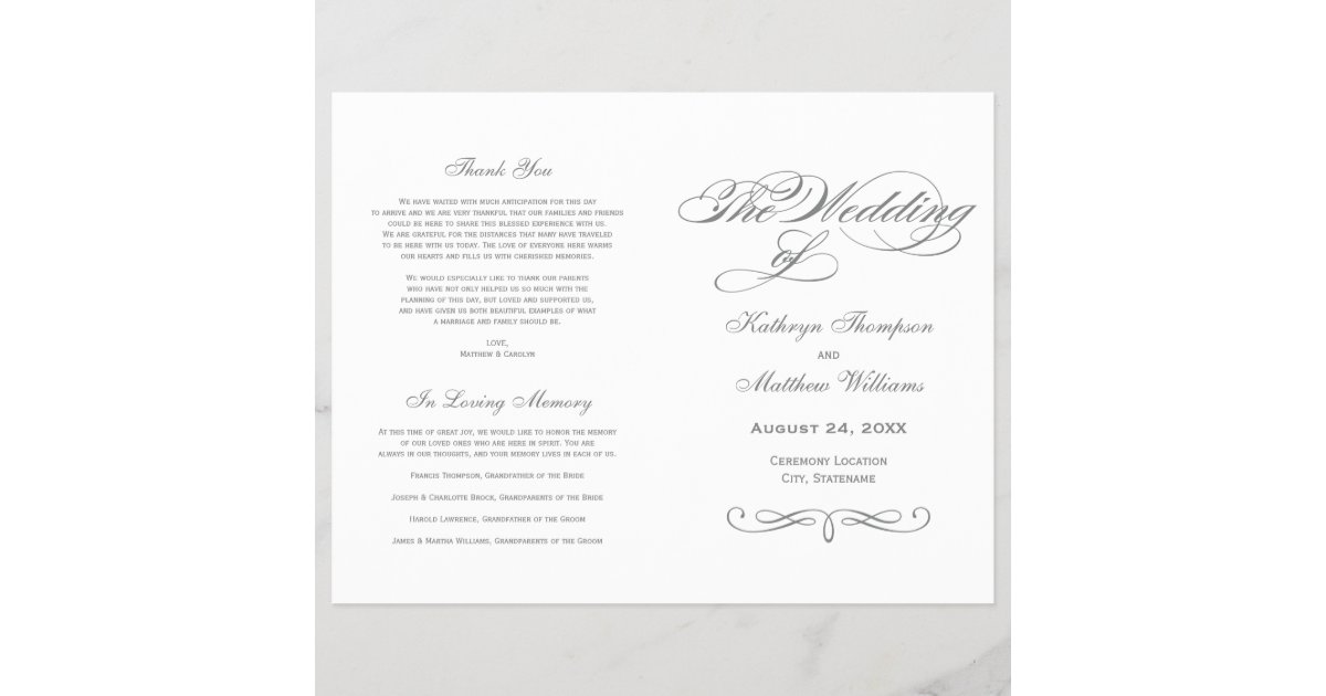 wedding programs gray calligraphy design zazzle com