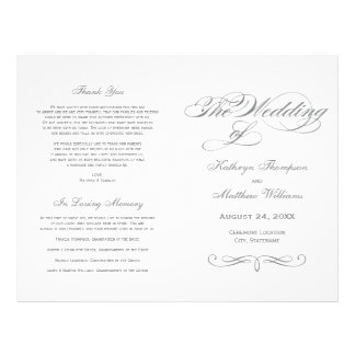"Wedding Programs | Gray Calligraphy Design 8.5"" X 11"" Flyer"