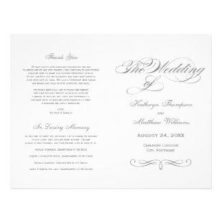 Wedding Programs | Gray Calligraphy Design Custom Flyer