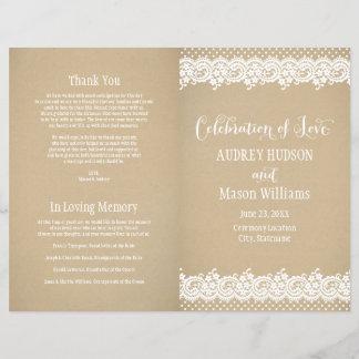 Wedding Programs   Lace and Kraft