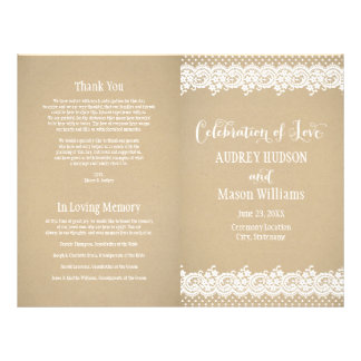"Wedding Programs | Lace and Kraft 8.5"" X 11"" Flyer"