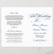 Wedding Programs | Navy Blue Calligraphy