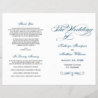 Wedding Programs   Navy Blue Calligraphy