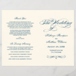 """Wedding Programs   Navy Blue Calligraphy Design<br><div class=""""desc"""">Elegant wedding ceremony program includes a flourished monogram with navy blue calligraphy and scroll design.  Personalize the custom text for your bridal party,  ceremony information,  and thank you message. Note: these text weight paper programs arrive flat and require folding to assemble.</div>"""