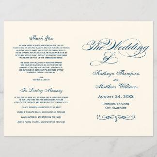 Wedding Programs   Navy Blue Calligraphy Design