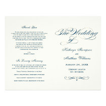 Wedding Programs | Navy Blue Calligraphy Design