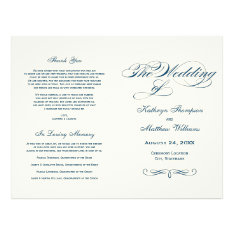 Wedding Programs | Navy Blue Calligraphy Design at Zazzle