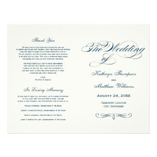 Wedding Programs Navy Blue Calligraphy Design