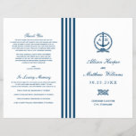 """Wedding Programs   Navy Nautical Design<br><div class=""""desc"""">Elegant wedding ceremony program includes a boat anchor with tied rope monogram and stripe detail where the programs should be folded. Personalize the navy blue custom text on the front and inside pages with your ceremony information and thank you message. Note: these text weight paper programs arrive flat and require...</div>"""