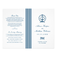Wedding Programs | Navy Nautical Design at Zazzle