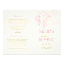 Wedding Programs | Pink Peony Floral with Gold