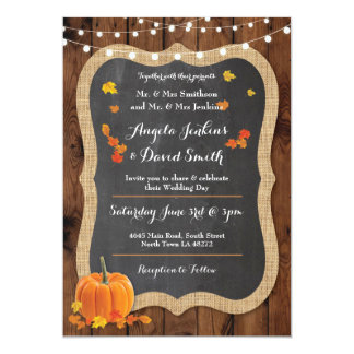 Wedding Pumpkin Fall Wood Chalk Party Invitation