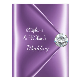 Wedding Purple Mauve Diamond Jewel Card