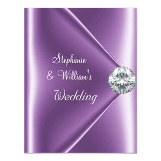 Wedding Purple Mauve Diamond Jewel 4.25x5.5 Paper Invitation Card