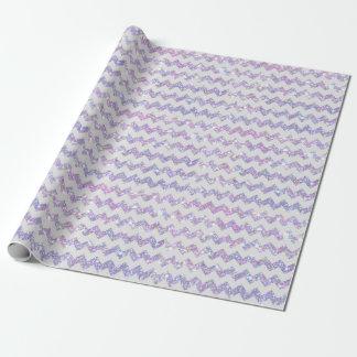 Wedding Purple Opal Glitter Print White Chevrons Wrapping Paper