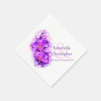 Wedding purple orchid watercolor art paper napkin