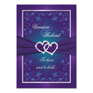 Wedding | Purple, Teal | Floral | Hearts FAUX Foil Personalized Invitations