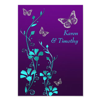Wedding | Purple Teal Silver, Floral | Butterflies Card