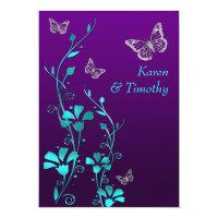 Wedding | Purple Teal Silver, Floral | Butterflies Personalized Invitation (<em>$2.43</em>)