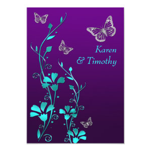 Wedding | Purple Teal Silver, Floral | Butterflies 5x7 Paper Invitation Card