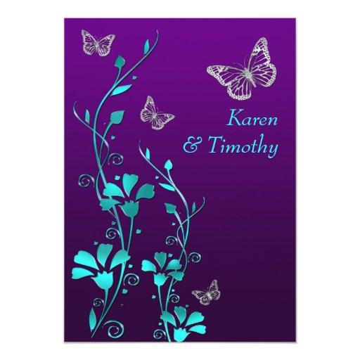 Wedding | Purple Teal Silver, Floral | Butterflies 5x7 ...