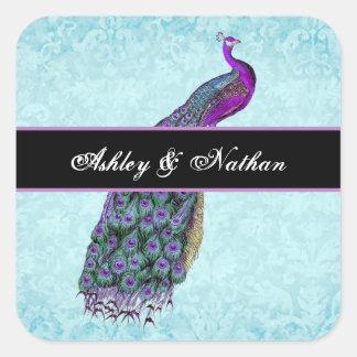Wedding Purple Vintage Peacock Bride Groom V01B1 Square Sticker