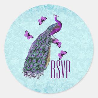 Wedding Purple Vintage Peacock RSVP V01C2 Classic Round Sticker