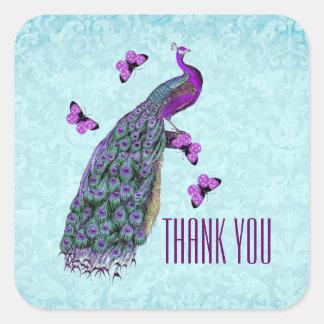 Wedding Purple Vintage Peacock THANK YOU V01C3 Square Sticker