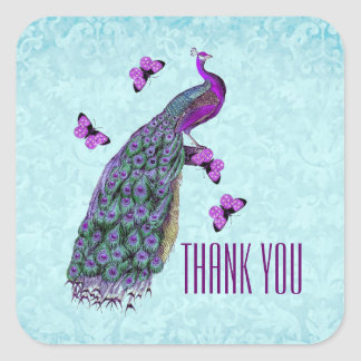 Wedding Purple Vintage Peacock THANK YOU V01C3 Square Sticker