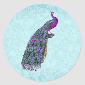 Wedding Purple Vintage Peacock V01C Classic Round Sticker
