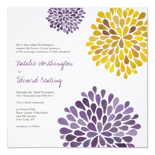 Wedding Purple Yellow Dahlia Flowers Invitation