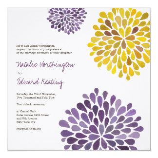 Wedding Purple Yellow Flower Blooms Invitation