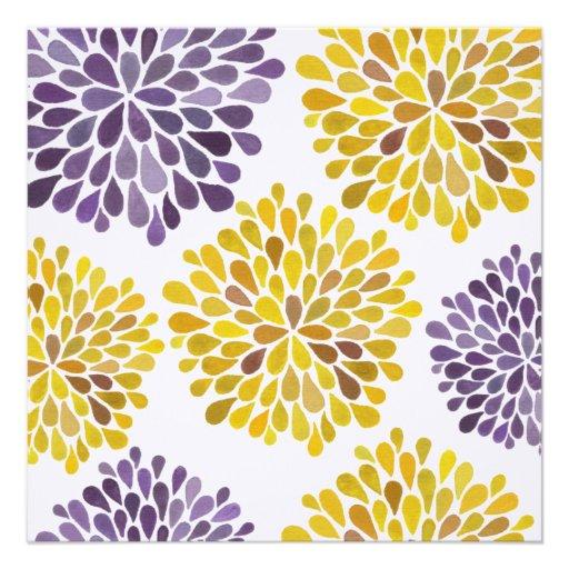 Wedding Purple Yellow Flower Blossoms Invitation 525 Square Invitation Card