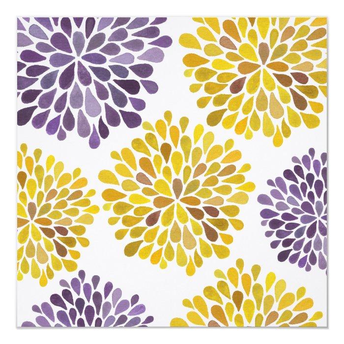 Wedding Purple Yellow Flower Blossoms Invitation
