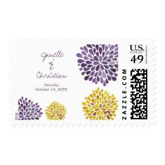 Wedding Purple Yellow Flower Petals Postage Stamp