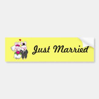 Wedding rabbits car bumper sticker